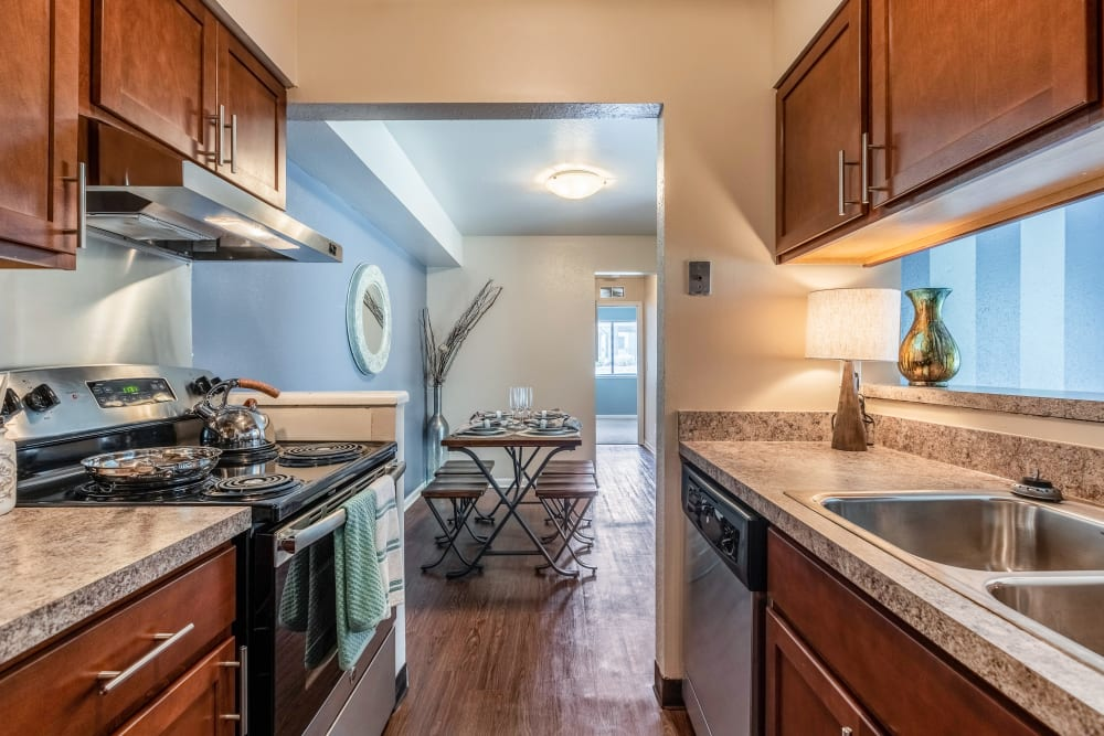 Modern kitchen at Okemos Station Apartments in Okemos, Michigan