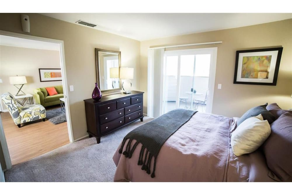 Bedroom with private balcony at Shaliko in Rocklin, California.