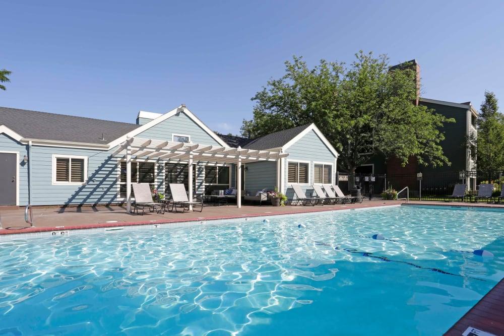 A beautiful swimming pool at Royal Ridge Apartments in Midvale, Utah