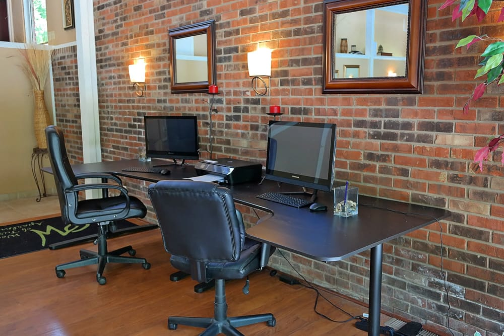 Desktop computers provided for community use at The Woods of Turpin in Cincinnati, Ohio