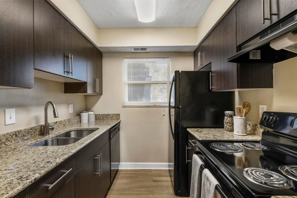 Large kitchen with plenty of counter top space at Hidden Creek Apartment Homes in Columbus, Ohio