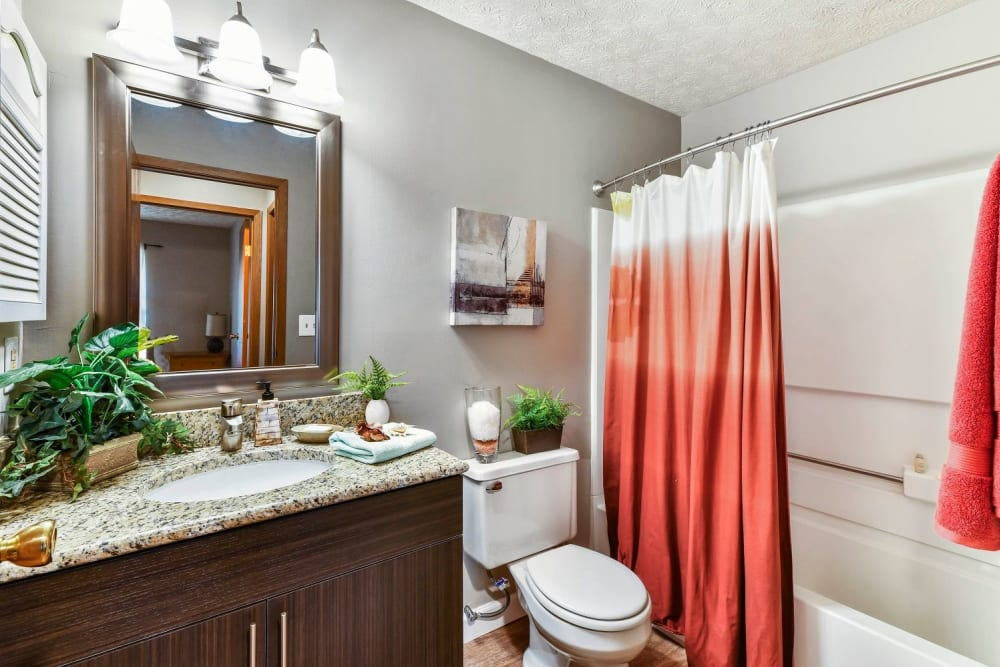 Beautiful bathroom with granite counter tops at Bolton Estates Apartments in Columbus, Ohio