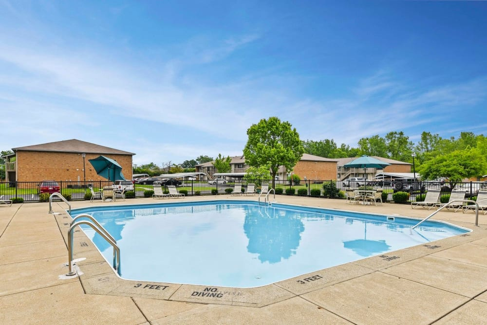 Large pool with lounge chairs at Bolton Estates Apartments in Columbus, Ohio