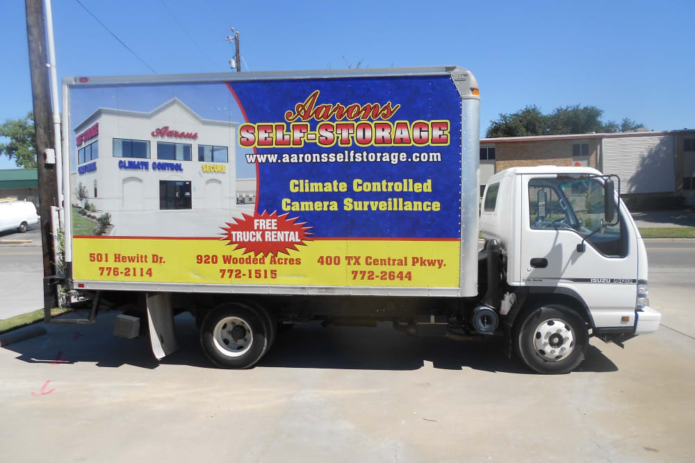 Moving truck at Aarons Self Storage 3 in Waco, Texas