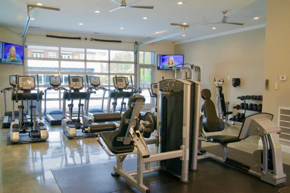 Fully equipped fitness center at Encore North in Greensboro, North Carolina
