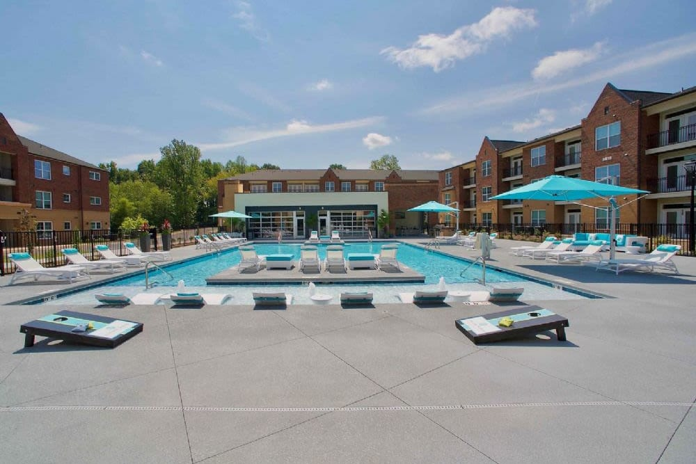 Stunning saltwater swimming pool at Encore North in Greensboro, North Carolina
