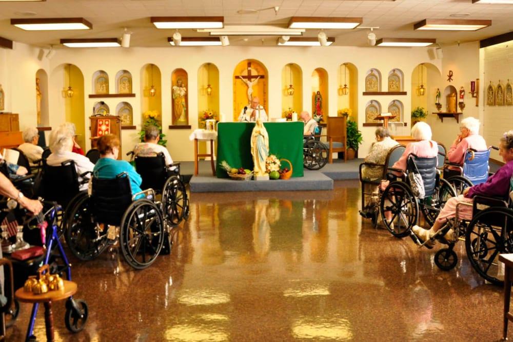 A church service at Villa Maria Care Center in Tucson, Arizona