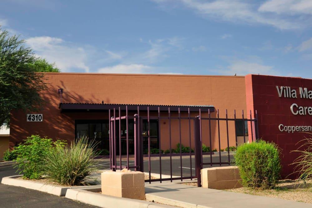 Front of the building at Villa Maria Care Center in Tucson, Arizona