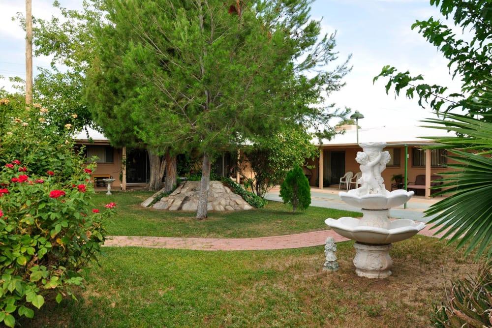 A fountain at Villa Maria Care Center in Tucson, Arizona