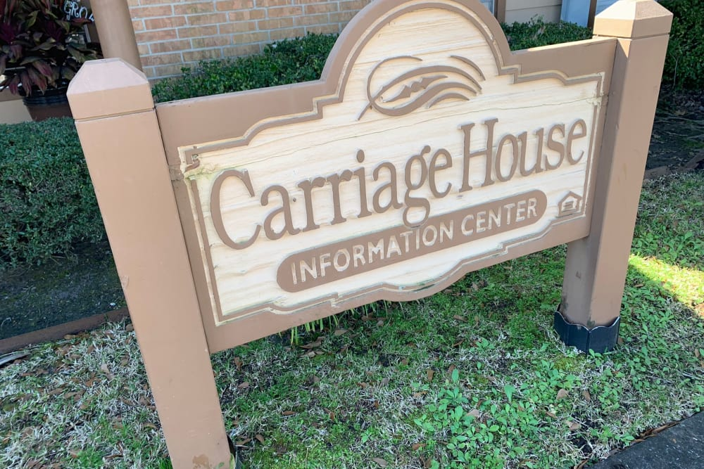 Signage at Carriage House Apartments in Nederland, Texas