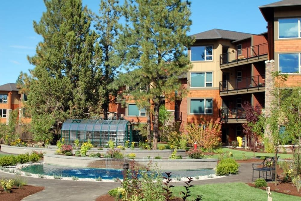 A water fountain at Touchmark at Mount Bachelor Village in Bend, Oregon