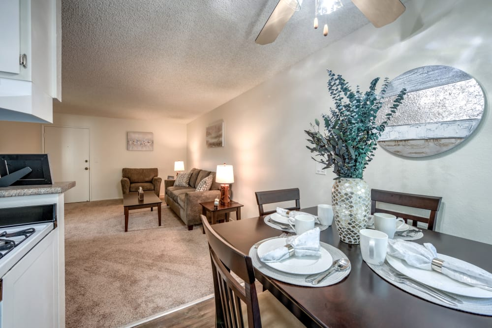 Dinning and living room at Vista Pointe II in Studio City, CA