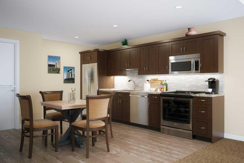 An apartment kitchen at Touchmark on West Century in Bismarck, North Dakota