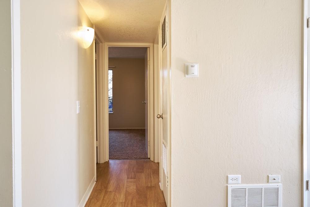 Lit up hallway to the bedroom at Villa Ramona in Monterey, California