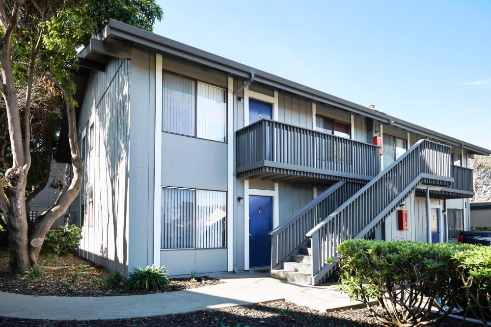 Exterior of building with spacious walkways at Villa Ramona in Monterey, California
