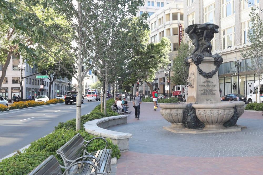 Fountain near Telegraph Arts in Oakland, California