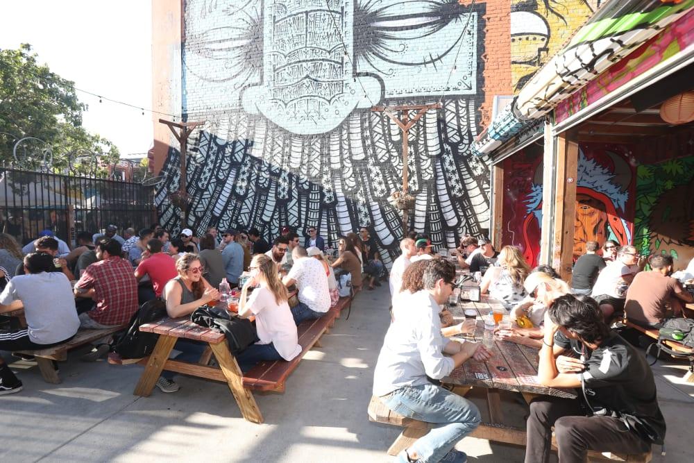 Eating outside near Telegraph Arts in Oakland, California