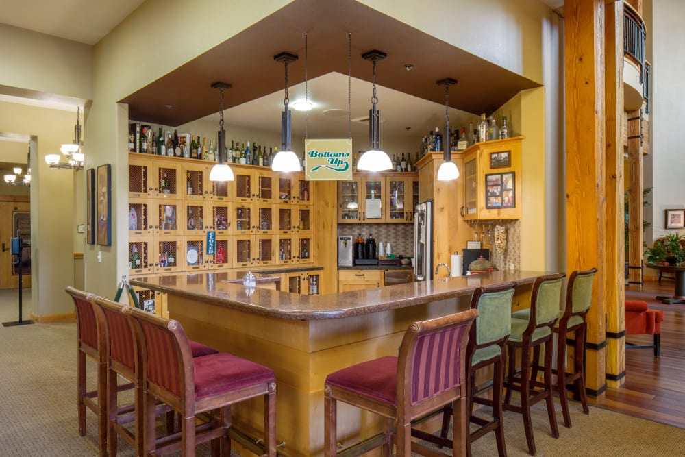 A community bar at Touchmark at Meadow Lake Village in Meridian, Idaho