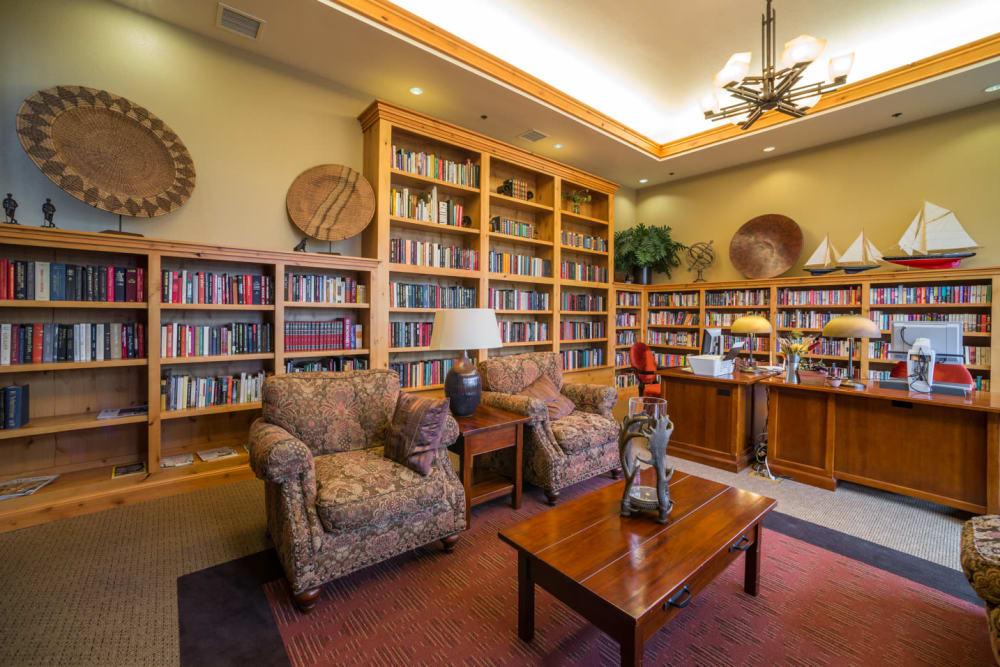 A quiet reading room at Touchmark at Meadow Lake Village in Meridian, Idaho
