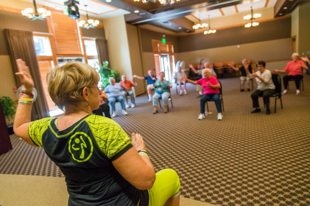 Residents exercising at Touchmark at Meadow Lake Village in Meridian, Idaho