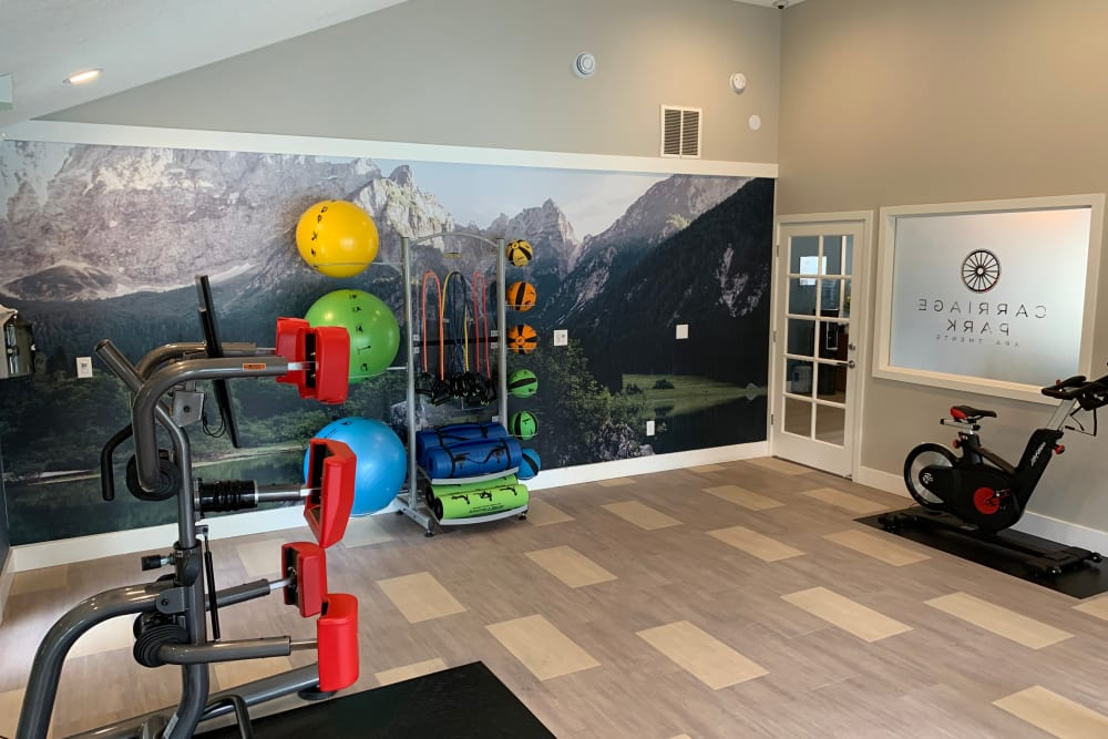 fitness center at Carriage Park Apartments in Vancouver