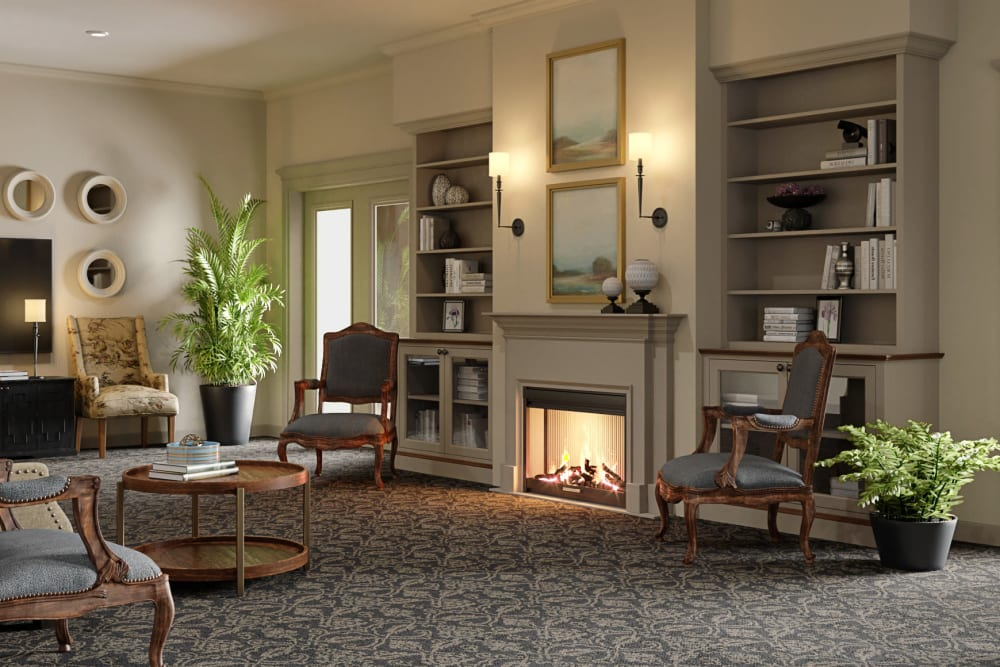 Entertainment room with fireplace at Weatherly Court in Medford, Oregon