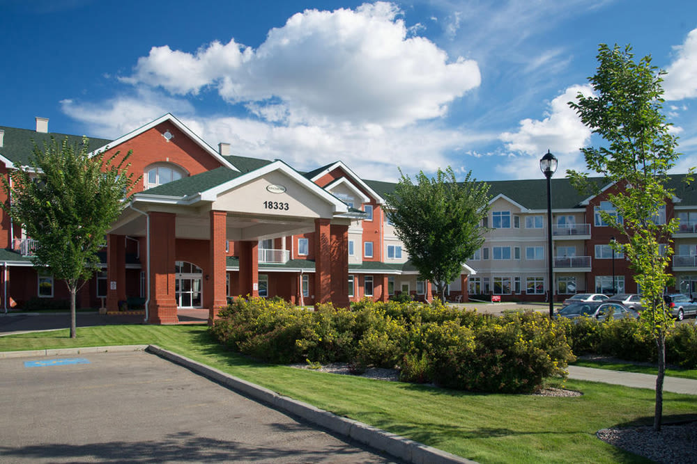 The main entrance to Touchmark at Wedgewood in Edmonton, Alberta