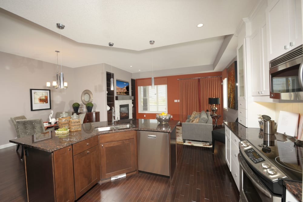 An apartment kitchen at Touchmark at Wedgewood in Edmonton, Alberta