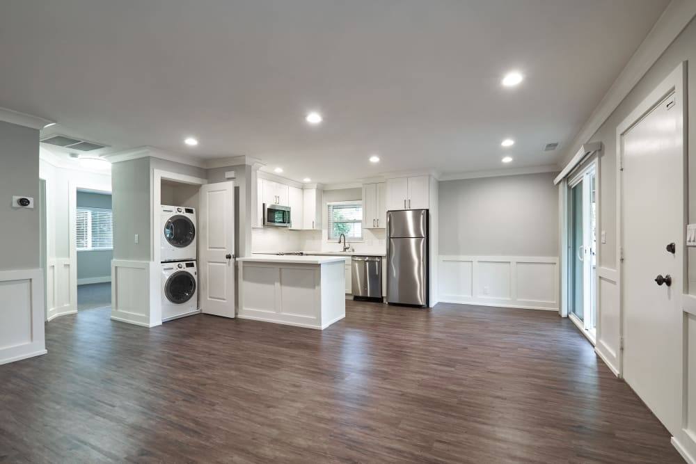 Spacious open-concept floor plan with stacked washer and dryer at Allure in Alamo, California