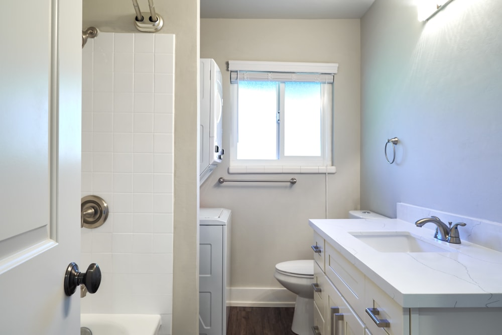 Spacious bathroom with white cabinetry at Allure in Alamo, California