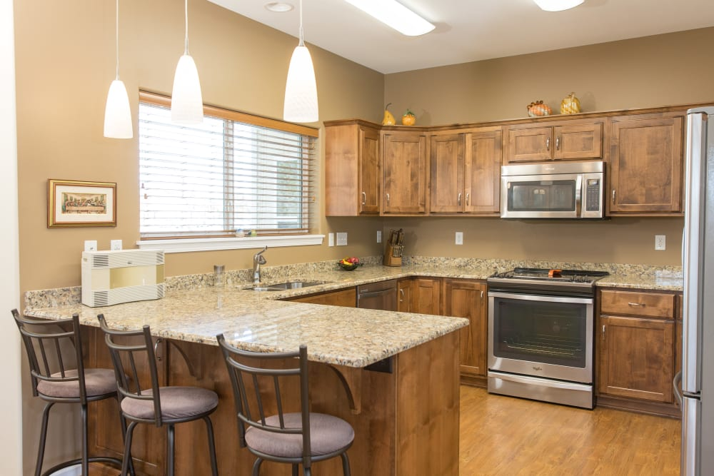 A cottage kitchen at Touchmark at Harwood Groves in Fargo, North Dakota