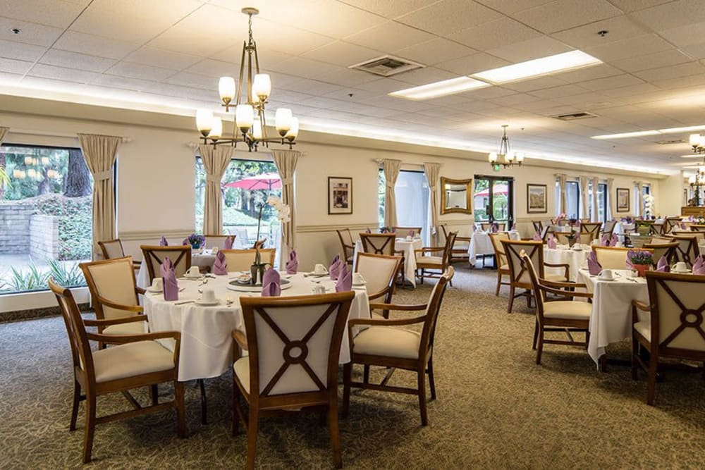 Community dining room at Pasadena Highlands in Pasadena, California
