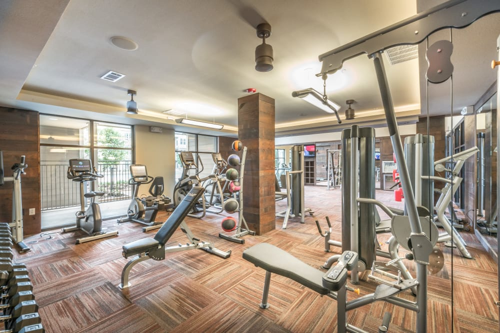 Fully equipped fitness center at Aviator West 7th in Fort Worth, Texas