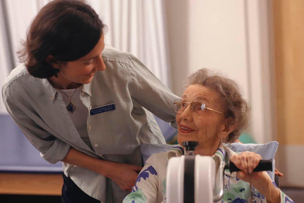 Resident working on arm strength at Belle Reve Senior Living in Milford, Pennsylvania