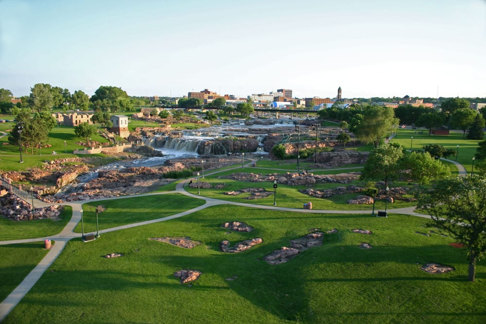 Walkways around the waterfall at Touchmark at All Saints in Sioux Falls, South Dakota