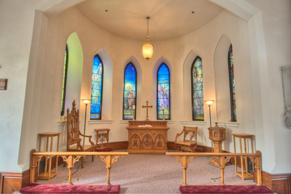 Beautiful stained glass windows in the community church at Touchmark at All Saints in Sioux Falls, South Dakota