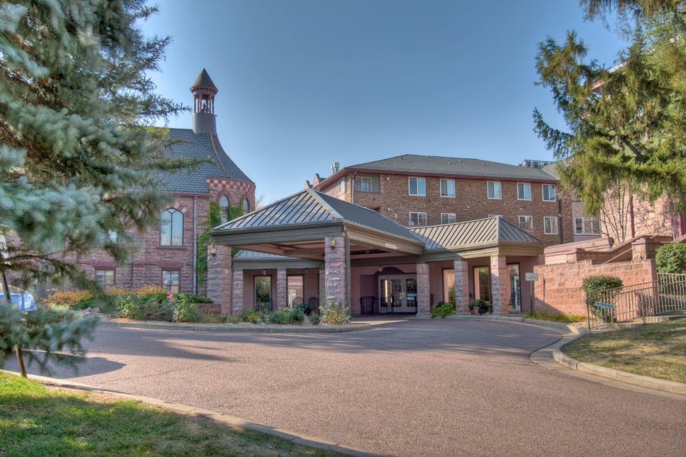 Apartment buildings and the main entrance at Touchmark at All Saints in Sioux Falls, South Dakota