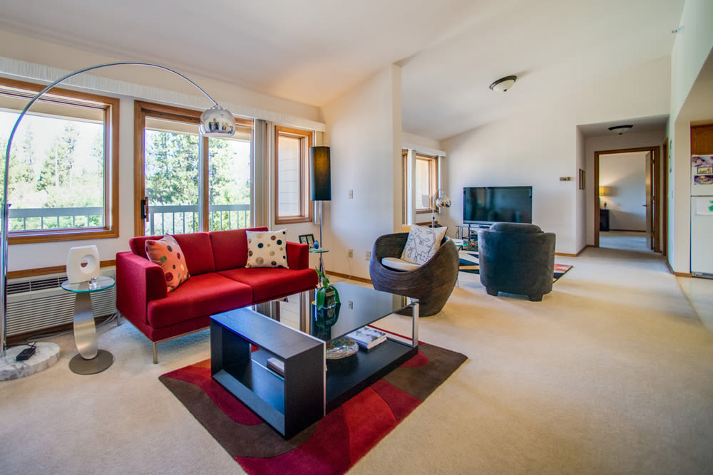 A beautiful apartment living room at Touchmark on South Hill in Spokane, Washington