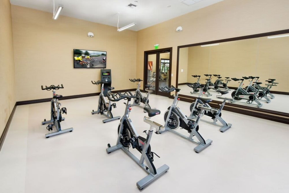 Spin class room at Doral View Apartments in Miami, Florida
