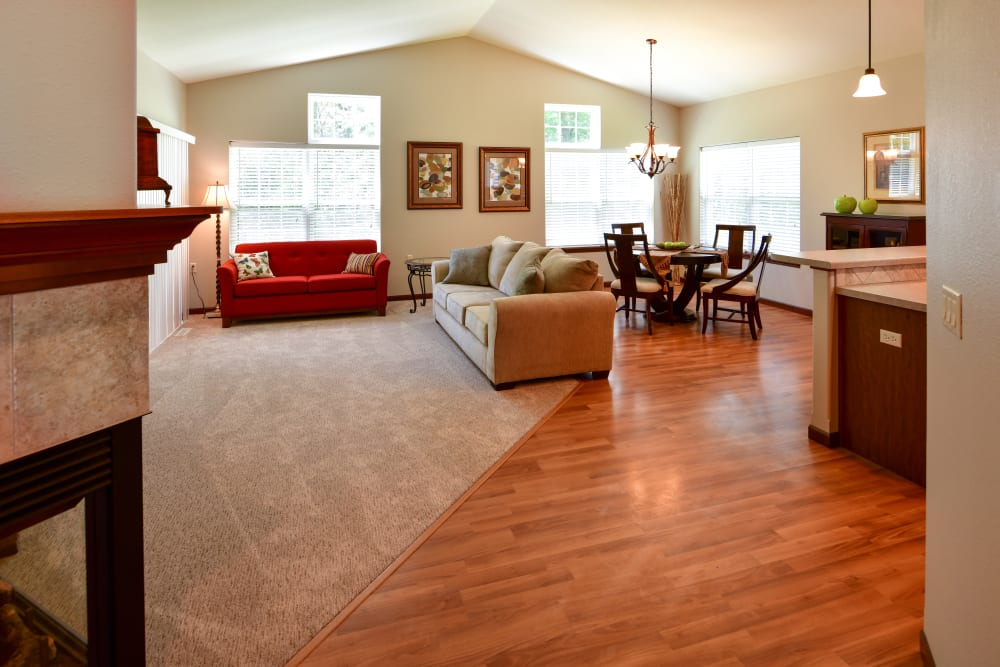 A spacious living room and kitchen at Touchmark on West Prospect in Appleton, Wisconsin