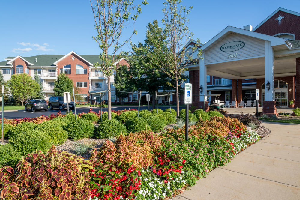 Building exterior and parking at Touchmark on West Prospect in Appleton, Wisconsin