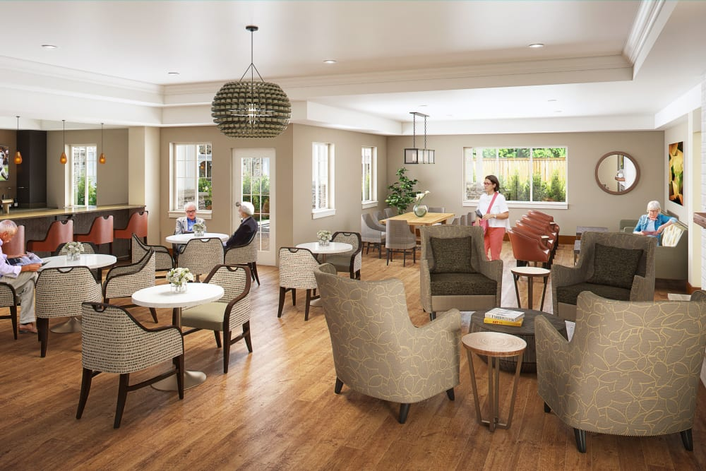 Resident lounge at Clearwater at Sonoma Hills in Rohnert Park, California.