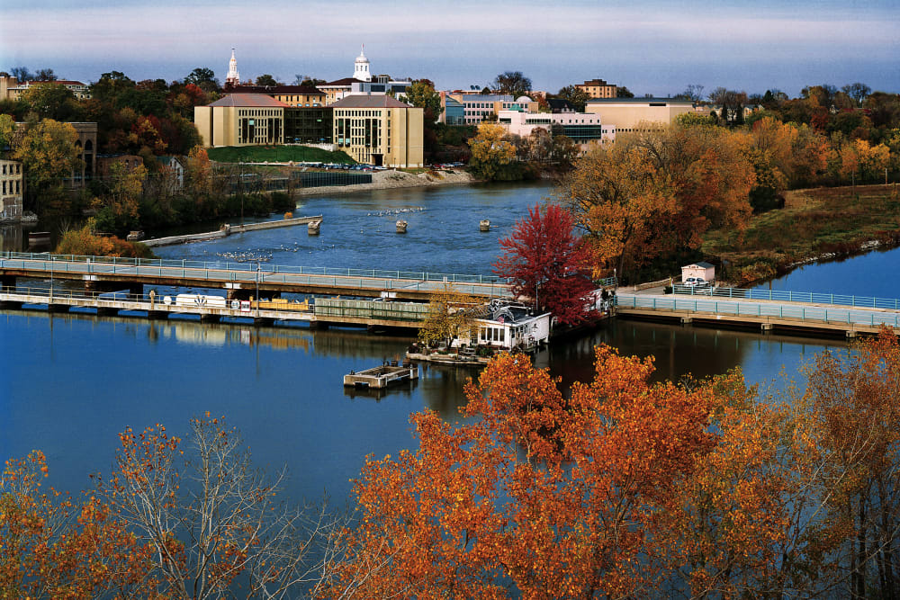 The university and river near Touchmark on West Prospect in Appleton, Wisconsin