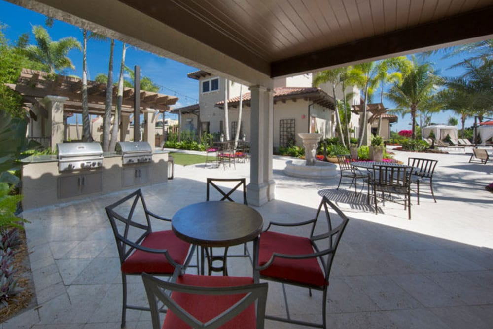 Barbecue area with gas grills and covered seating nearby at Town Fontainebleau Lakes Apartment Residences in Miami, Florida