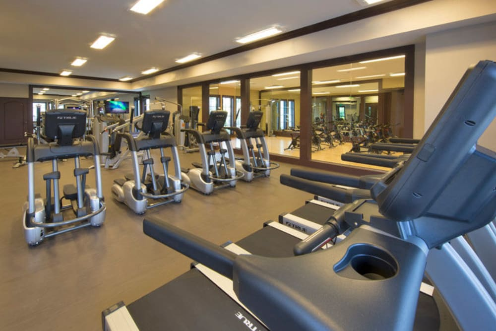 Well-equipped fitness center at Doral Station in Miami, Florida
