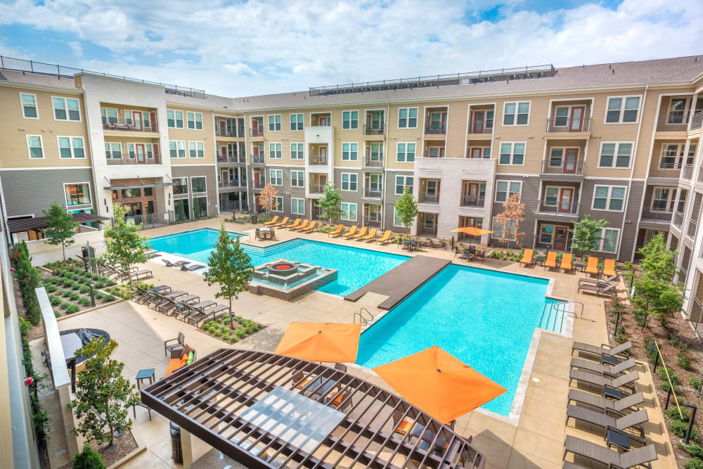 Aerial view of Aviator West 7th's two pools in Fort Worth, Texas