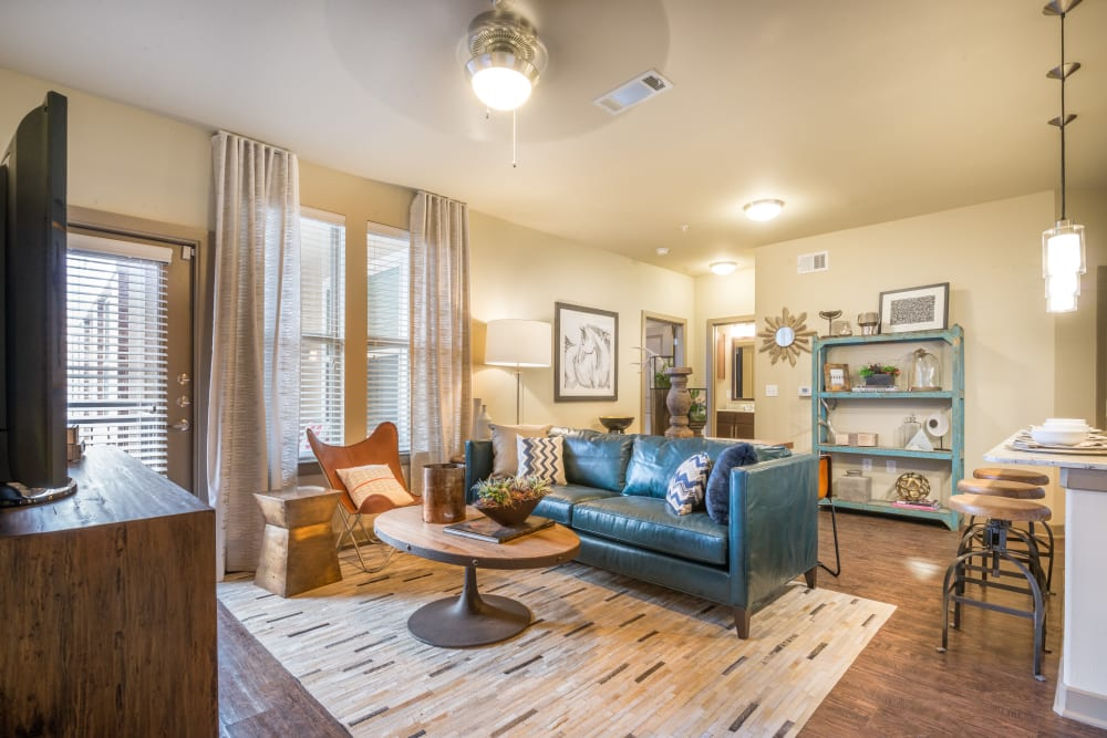 Modern, spacious living room at Aviator West 7th in Fort Worth, Texas