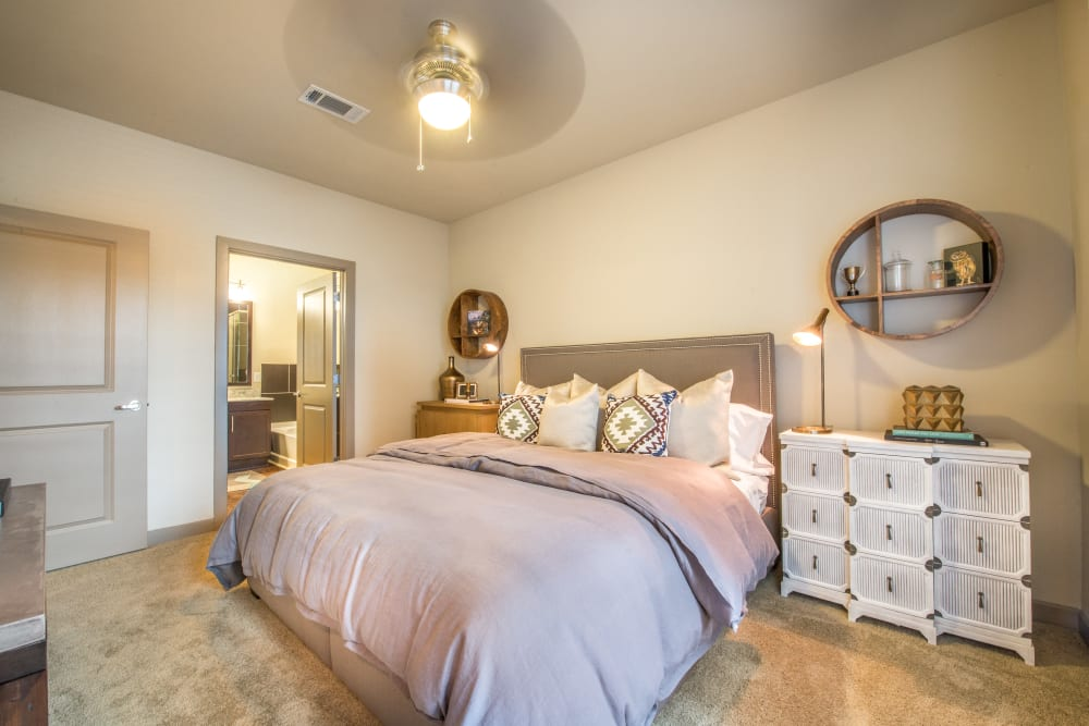 Spacious bedroom with a ceiling fan at Aviator West 7th in Fort Worth, Texas