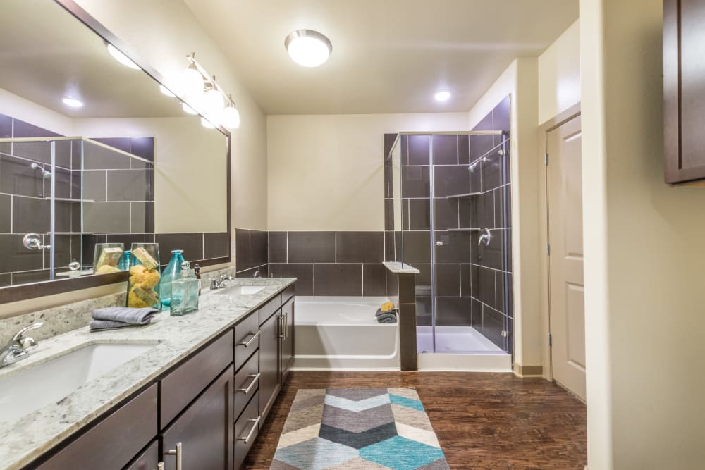 Spacious, modern bathroom at Aviator West 7th in Fort Worth, Texas