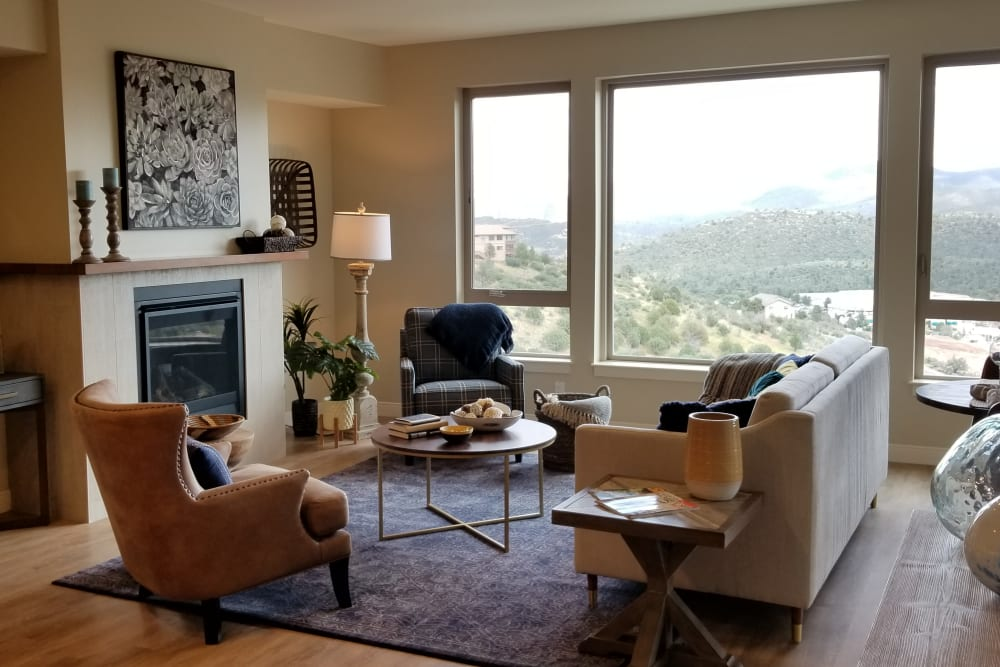 Wood flooring in an apartment living room at Touchmark at The Ranch in Prescott, Arizona